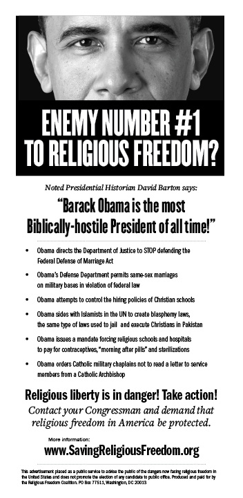 Religious Freedom Coalition newspaper ad on Obama's attack on religious liberty